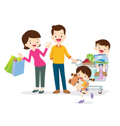 Family shopping characters vector