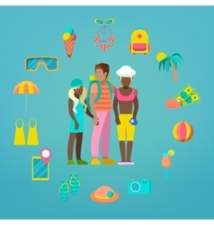 Family Travel Tourism Icons Set with Tourist vector