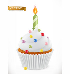 Festive cupcake with candle 3d realistic icon vector