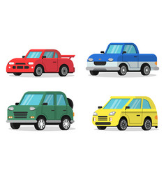 flat of cars in orthogonal vector image