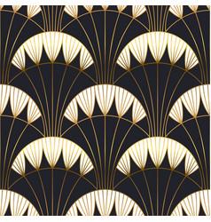 Gold black art deco architecture seamless pattern vector