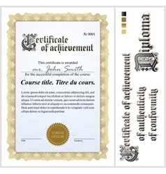 Gold certificate Template Vertical vector image