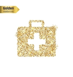 Gold glitter icon of first aid isolated on vector image