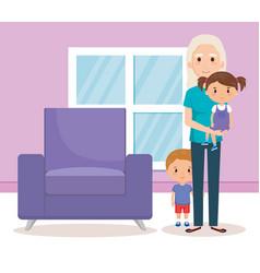 Grandma and geandchildren in the livingroom vector
