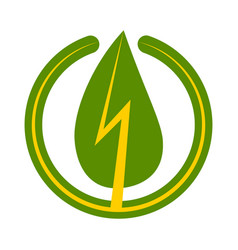 green energy sign icon leaf vector image