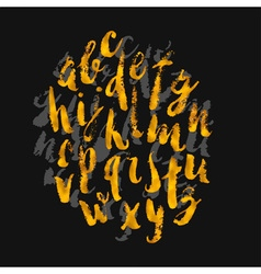 Hand drawn gold watercolor alphabet made vector