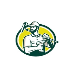 Handyman Bearded Drill Paintroller Oval Retro vector