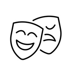 happy and unhappy theatrical mask icon vector image