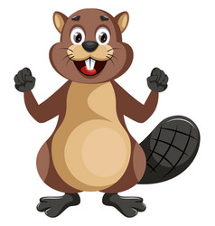 Happy beaver on white background vector