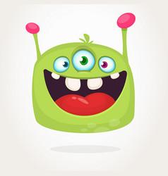 happy green cartoon alien with three eyes vector image