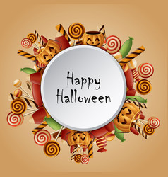 Happy halloween circle card pumpkins vector