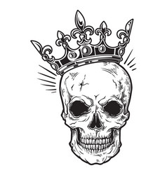Human skull with crown for tattoo design vector