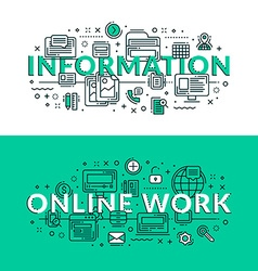 Information and Online Work Concept Colored flat vector