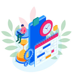 isometric online weekly schedule and calendar vector image