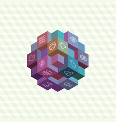 Isometric projection infographic array cubes vector