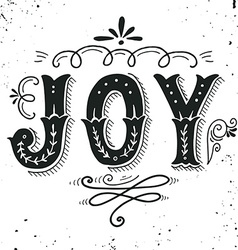 Joy merry christmas retro poster with hand vector