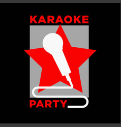 karaoke party microphone and star icon vector image