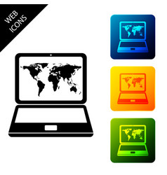 Laptop with world map on screen icon isolated on vector
