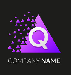 letter q logo symbol on colorful triangle vector image