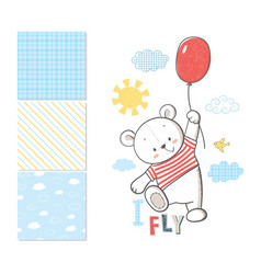 little bear is flying in a balloon vector image