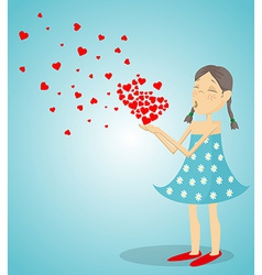 Little Girl Blowing A Heart vector image