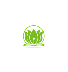 lotus flower green leaf logo vector image