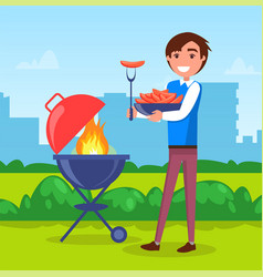 Man on picnic in city park grill sausages on vector