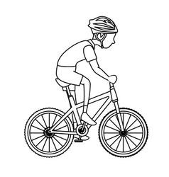 man riding bike icon vector image vector image