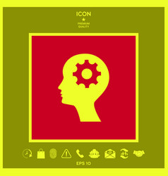 Man silhouette with gear icon vector