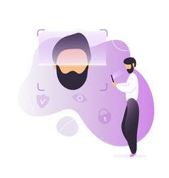 man unlocking phone using face recognition vector image