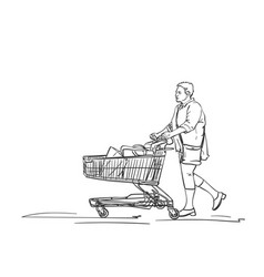 Mature woman walking with supermarket cart after vector