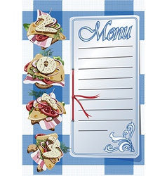 Menu and three canapes on blue napkin vector image