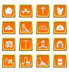 miner icons set orange vector image