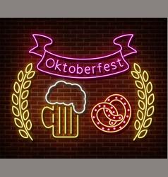 neon oktoberfest signs isolated on brick vector image