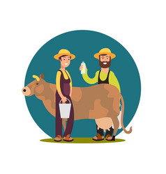 organic farm milk products cartoon character vector image