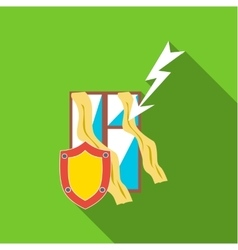 Protecting home from lightning icon flat style vector image