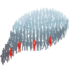 Protrude persons in group bubble vector image