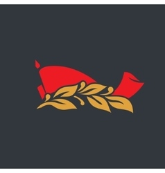 Red flag with a laurel branch sign vector image