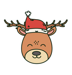 reindeer with hat celebration merry christmas vector image