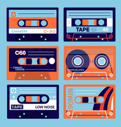 Retro cassettes set vector