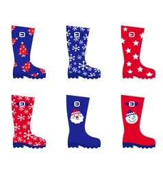 Retro christmas wellington boots vector