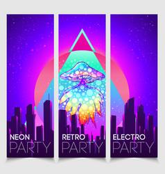 Retro futurism vintage 80s or 90s style vector