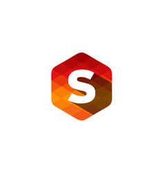 s hexagon pixel letter shadow logo icon design vector image