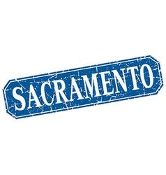 Sacramento blue square grunge retro style sign vector