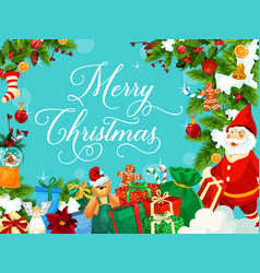 santa christmas gift and new year garland card vector image