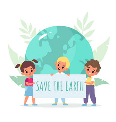 save planet cartoon kids holding placard boys vector image