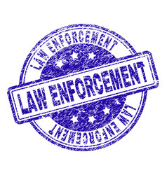 Scratched textured law enforcement stamp seal vector