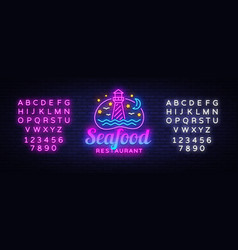 seafood restaurant neon sign seafood vector image