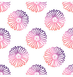 seamless pattern with hand drawn chamomiles vector image
