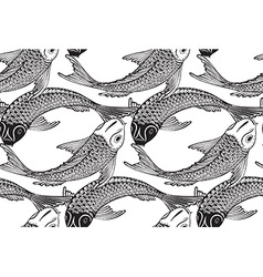 Seamless pattern with hand drawn koi fish vector